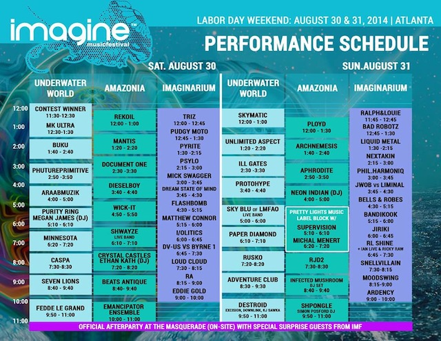 imagine festival schedule