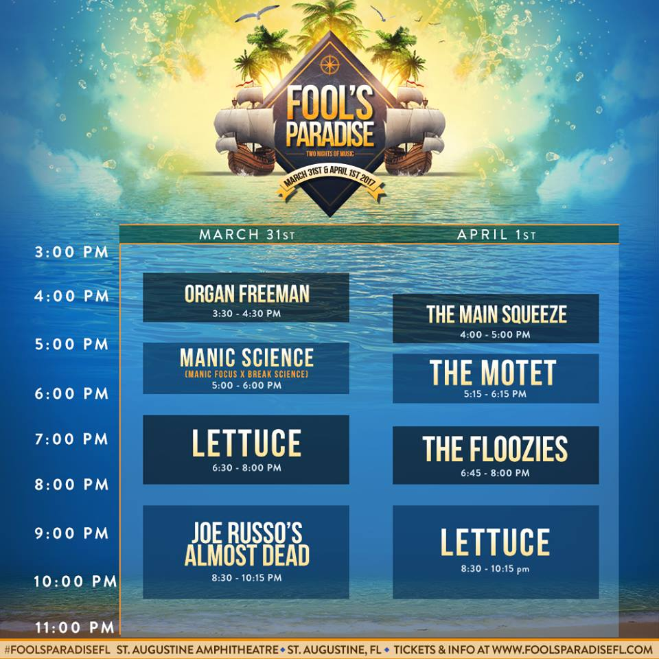 Fools Paradise Daily Schedule