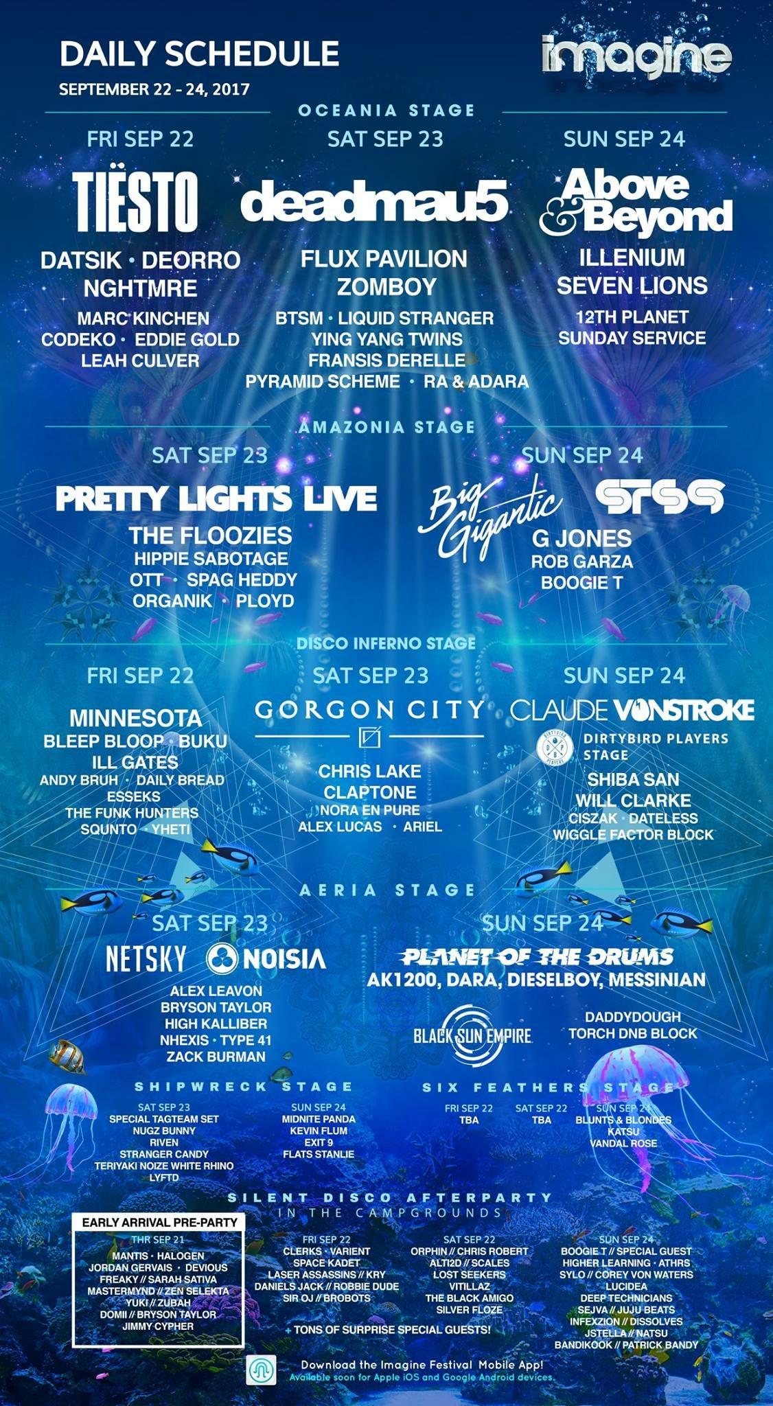 imagine festival daily lineup