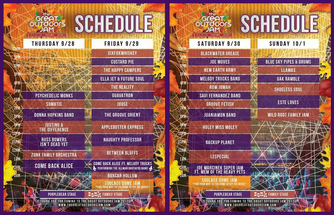 great outdoors jam schedule
