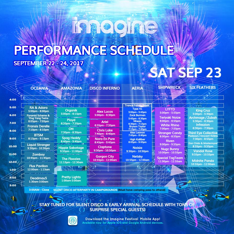 imagine festival 2017 saturday schedule